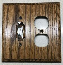 Stained Med Dark Oak Wood Switch Plate Combo For Double Outlet + Light Switch
