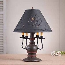 Cedar Creek 4-arm Wooden Table Lamp w/ Punched Shade | Primitive Colonial Light