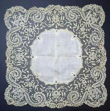 More details for exquisite antique 19th century brussels point de gaze mixed lace handkerchief