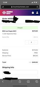 2021 EDC Las Vegas GA 3 Day Experience Pass {10/22- 10/24}