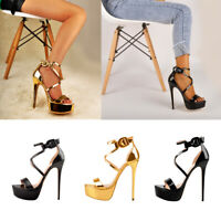 Onlymaker Womens Platform Sexy Stilettos Open Toe Ankle Strap Crisscross Sandals