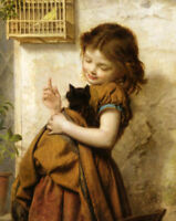LMOP393 100% hand paint little girl hold cat birdcage art oil painting on canvas