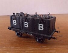 KIT BUILT 3 WOODEN TUB COAL WAGON in BBB Black LIVERY. EM Gauge