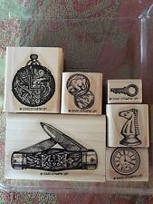 Stampin' Up PAPA'S POCKET Set of 6 RARE Stamps Retired 2000 Dad Father Antique