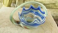 Mid Century cobalt blue Vintage ART GLASS LARGE TRUMPET VASE Hand Blown Swirl