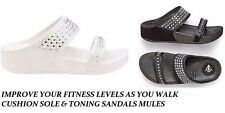 NEW LADIES FIT FLIP FLOP LOW WEDGE WALKING TONING SPORT SANDALS MULE DIAMANTE SZ