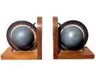 Atlas Globe Bookends Book End Wooden Vintage Made In Hong Kong