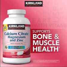 Kirkland Signature™ Calcium Citrate Magnesium & Zinc. 500 mg, 500 Tablets -NEW-