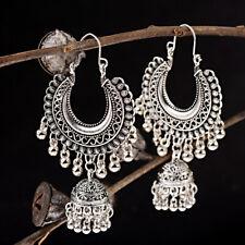 Drop Bell Women jhumka Earrings Jewelry Retro Bohemian Silver Big Earrings Hook