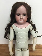 """Antique Bisque Armand Marseille 27"""" Doll 370 AM-9-DEP leather body wig Germany"""