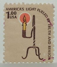VINTAGE STAMPS AMERICANA AMERICA 1 $ ONE DOLLAR RUSH LAMP CANDLE HOLDER X1 B29