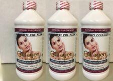 3  16oz Collagen Hydrolyzed Liquid + Vitamin C  Anti-Aging + L-Carnitine Colagen