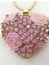 Betsey Johnson Necklace HEART Rose Pink Crystal  WORLD LOVE WORLD PEACE