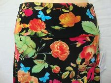 LulaRoe Azure Skirt sz S Black Rose Design Multi-color Roses Butterfly Pattern