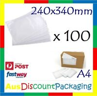 (100x Piece) 240 x 340mm A4 Clear Document Pouch Back Side SelfAdhesive Doculope