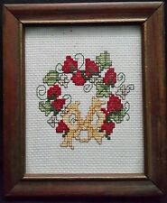 Kitchen Sampler Embroidery Finished Framed Cross Stitch Fruit Red Yellow Bow GVC