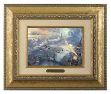 Thomas Kinkade Tinker Bell and Peter Pan Fly 5 x 7 Framed Brushwork (Gold Frame)