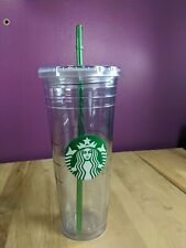 STARBUCKS Venti Clear Double Insulated Cold Iced Coffee W/Straw Travel Cup 2012