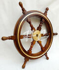 """Nautical 24"""" Captain's Wooden Ship Steering Wheel Sailing With Brass Ring Decor"""
