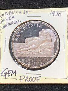 LIMITED EDITION 1970 Silver Equatorial Guinea 100 Pesetas Maja Desnuda Goya Coin