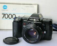 Minolta 7000 AF 35mm SLR Film Camera & 50mm 1.7 Lens. TESTED FREE WARRANTY.
