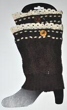 Leg Warmer Boot Topper Crochet Lace Trim Dark Brown 1 Pair Soft Adult Size New!!
