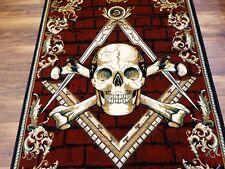 Masonic Skull and Bones Woven Area Rug Freemason Ring Illuminati All Seeing Eye