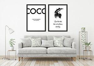 Set of 2 Fashion Designer Bedroom Living Room Prints Wall Art Unframed Posters