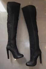 TOP DESIGNER RARE All Saints Hero Thigh High HEEL BLACK REAL LEATHER BOOTS 4 .