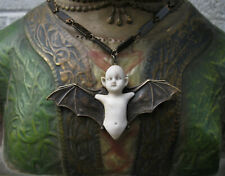 Gothic Bat Baby Necklace Vintage Antique Brass Memento Mori