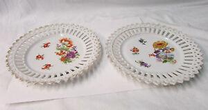 "2 Bavarian China Floral Design 7"" Plates"