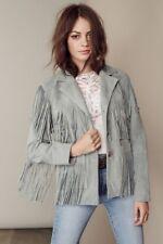 Womens Suede Leather Grey Fringe Native American Western Style Cowboy Jacket