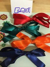 Big Ribbon Bow Hair Clip - pack of 4: red, green, orange, navy