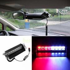 Red/Blue 8-LED Car Dash Strobe Light Flash Emergency Police Warning Safety Lamp