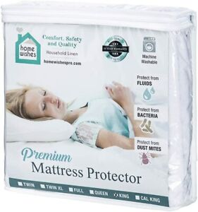 Waterproof Mattress Protector Cotton Fitted. Bedding Cover Pad. Machine Washable