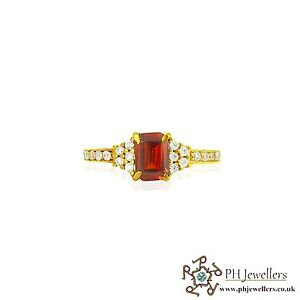 22ct 916 Asian Indian Yellow Gold Ring with Rectangle Garnet CZ Stones Size N SR