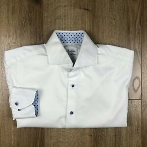 Stenstroms Mens Two Fold Cotton White Fitted Dress Shirt Size 15 3/4 40