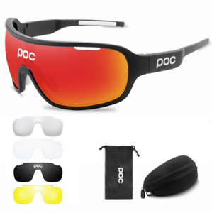 POC Cycling Biker Glasses Sunglasses UV400 Polarized Glasses W/4pc Replace Lens