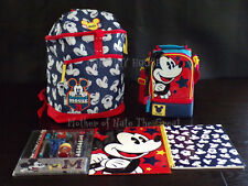 NEW DISNEY STORE Mickey Mouse BACKPACK, LUNCH BAG, STATIONARY, FOLDER, NOTEBOOK