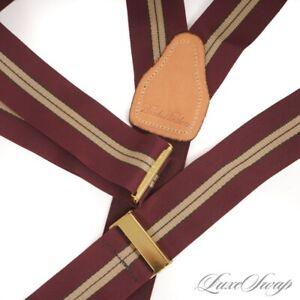 LNWOT Brooks Brothers Maroon Grosgran Ochre Repp Stripe Suspenders Braces #6