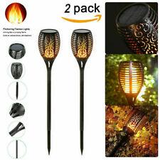 96 LED Flackernde Landschaft Lampe Tanzen Flamme Solar Fackel Garten Licht DE