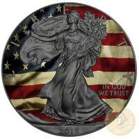 USA OLD GLORY American Silver Eagle 2018 Walking Liberty $1 Dollar Coin 1 oz