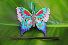 Handmade leather BUTTERFLY Hair Pin Barrette Clip Clasp Slide Hand painted new