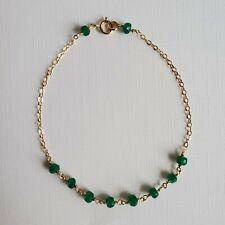 Emerald Bracelet 14K Yellow Gold Filled, Faceted Tiny Emerald Beads Bracelet