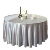 57'' Square Table Cover Satin Tablecloth for Wedding/Event/Banquet-Silver