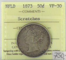 Canada NFLD 1873 Fifty Cents ICCS Certified VF-30 XTG 870 Scratches