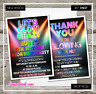 Personalised Disco Party Invitations for Birthday Boy or Girl Dance Neon UV Pink