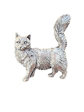Maine Coone Cat Finely Handcrafted in Solid Pewter In UK Lapel Pin Badge