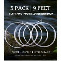 5 Pack Fly Fishing Tapered Leader 9FT 4X Nylon Line Leader w/ Loop