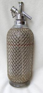 Sparklets vintage mesh-covered glass soda syphon